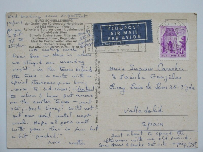 1973 Burg Schnellenberg AUSTRIA Vintage Chrome Postcard to Spain