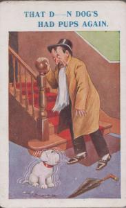 Man Drunk Seeing His Dog Double Vision Antique Comic Humour Postcard