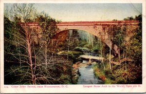 Cabin John Bridge near Washington DC longest stone arch c1900 undivided back