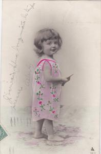 Little Girl wearing Pink flower dress, PU-1906