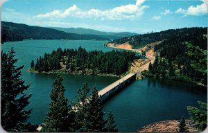Blue Creek Bay Bridge Lake Coeur d'Alene Idaho Postcard unused 1940s/50s