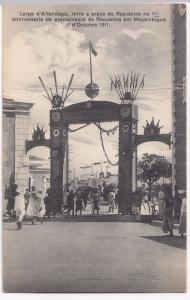 Mozambique; Arch celebrating the 10th anniversary ... PPC, 1911 to London, GB