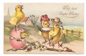 Easter Anthropomorphic Dressed Chick Family Hiking Postcard