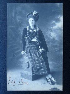 Studio Portrait LADY IN SCOTTISH DRESS / TARTAN Old RP Postcard by Cosser & Co.