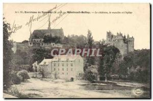 Postcard Old water mill surroundings Saumur Montreuil Bellay The castle and t...