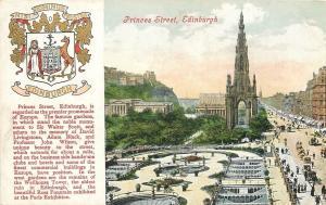 Edinburgh Scotland~Coat of Arms~Princes Street~Sir Walter Scott Monument~1910
