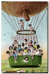 Old Postcard Jet Aviation Airship Children