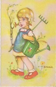 BONNIE: Blond Girl in Blue Apron Carrying Watering Can & Rake