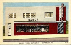 Boyertown Pennsylvania~Bause Drug Store~Display Windows~ART DECO~1949 Linen PC