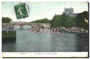Old Postcard Paris Seine at Pont Royal