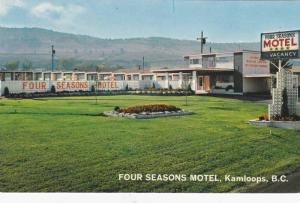 Exterior View, Flowers in Courtyard of Four Seasons Motel, Kamloops, British ...