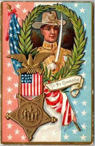 1910s Memorial / DECORATION DAY Embossed Patriotic Postcard To My Comrade