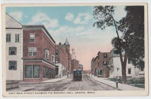 c1910 ORANGE Massachusetts Mass Postcard TROLLEY Main Street Masonic Hall