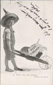 Wheeling West Virginia Boy Wheelbarrow Map WVA c1907 Nicoll's Postcard F60