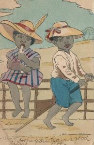 Schwarz Americana Romantische Liebespaar 1906 Undivided Antik Postkarte