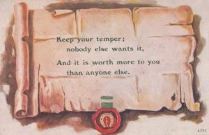 Keep Your Temper Anger Nobody Wants It Old Proverb Postcard