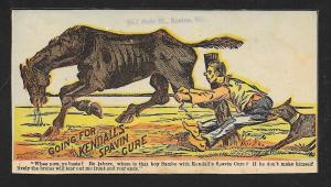 VICTORIAN TRADE CARD Kendall's Spavin Cure Black Man Horse