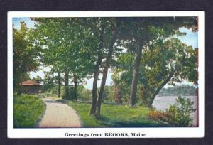 ME Greetings From BROOKS MAINE Old Postcard PC