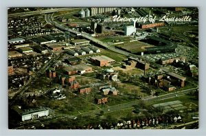 Louisville KY-Kentucky, Aerial View, University Of Louisville, Chrome Postcard