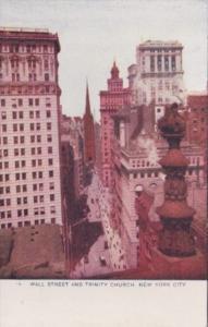 New York City Wall Street and Trinity Church