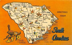 LP55 Charleston South Carolina Map  Postcard