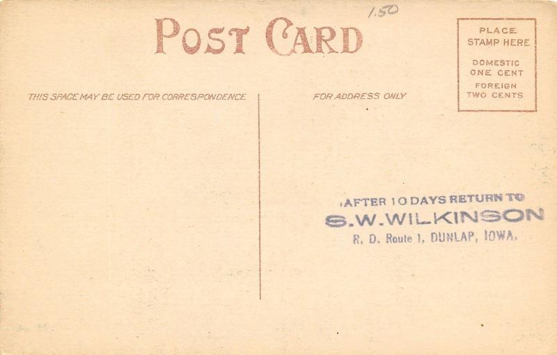 Dunlap Iowa~Favorite Fishing Spot~Below the Dam~Driftwood~SW Wilkinson~1908 PC