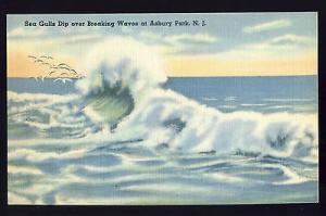 Nice Asbury Park, New Jersey/NJ Postcard, Sea Gulls Dip Over Breaking Waves