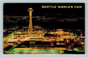 Seattle WA- Washington, Night View World Fair Grounds, Aerial, Chrome Postcard