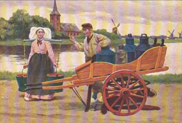 Netherlands Local Woman Carrying Water and Milk Delivery Man