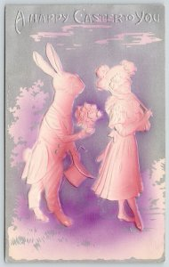Easter Fantasy~Elegant Dressed Rabbit Courts Lady~Pink Silver Airbrushed~Emboss