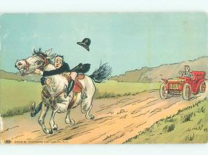 Pre-Linen Comic HORSE CHASED DOWN THE ROAD BY CAR AB9182