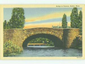Unused Linen BRIDGE SCENE Boston Massachusetts MA HQ9736