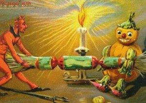 Vintage Halloween Postcard Tuck Original Red Devil Goblin Anthropomorphic 150