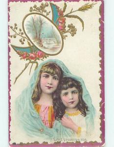c1910 Two Pretty Girls Sharing One Shawl Covering - Blank Postcard o7414