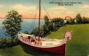 Minnesota Duluth Replica Of Leif Erikson'd Boat 1941 Curteich