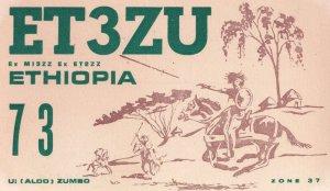 Horse Fights Asmara Ethiopia Vintage Amateur Radio QSL Card