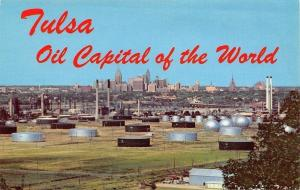 Tulsa Oklahoma~Oil Well Panorama~Tanks~City Skyline~1958 Postcard