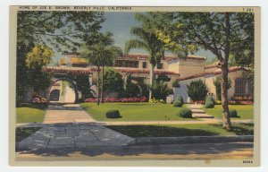 P2009, old postcard home of joe e brown actor and comedian beverly hills calif