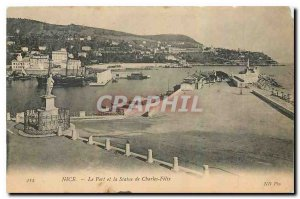 Old Postcard Nice The Port and the Statue of Charles Felix