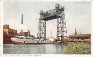 Chicago Illinois~Ship under Halstead Street Lift Bridge~1912 Postcard