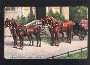 038154 Team Four HORSES w/ Carriage by MULLER vintage PC