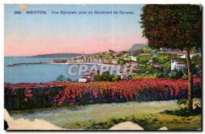 Menton Old Postcard General view taken from Boulevard de Garavan