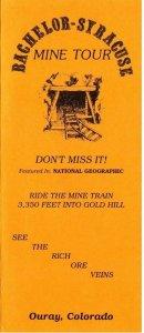 Vintage BACHELOR SYRACUSE GOLD MINE TOUR Brochure  Ouray Colorado