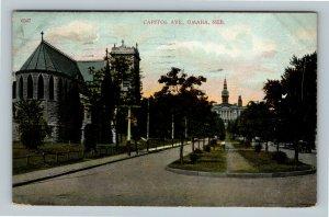 Omaha NE, Capitol Avenue, Vintage Nebraska c1907 Postcard