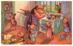 Pigs Washing- Up , by Molly Brett