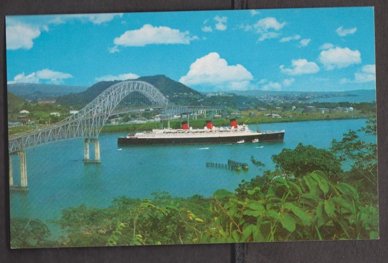 Panama Canal - Queen Mary Exiting The Canal On Her Last Voyage To LA Unused 60s