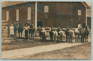 RPPC Father & 2 Big Show Horses~Mother,Sons & Daughter Show Off 7 More~Barn~1910