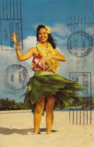 Hawaii Honolulu Lovely Hawaiian Hula Maiden 1969