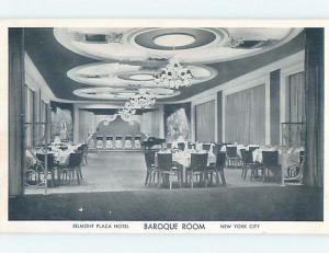 Damaged-Back Pre-1980 BAROQUE ROOM AT BELMONT PLAZA HOTEL New York City NY B3479