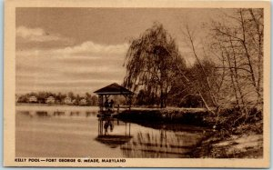 1940s FORT GEORGE G. MEADE, Maryland Postcard Kelly Pool Army Base WWII